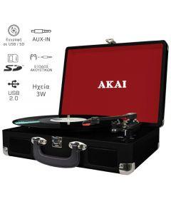 Akai ATT-E10 Πικάπ βαλίτσα με εγγραφή σε USB / κάρτα SD και ενσωματωμένα ηχεία 3 W 14884-3010
