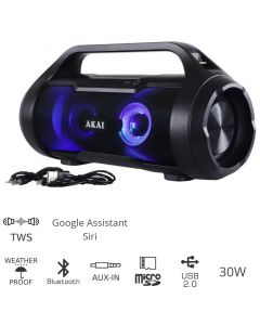 Akai ABTS-50 Αδιάβροχο φορητό ηχείο Bluetooth με TWS, USB, LED, micro SD και Aux-In – 30 W 110582-0080