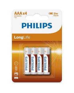 Philips R03L4B/10 Μπαταρίες μεγάλης διάρκειας ζωής Zinc-Chloride 4 τμχ AAA 115010-0007