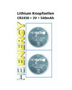 Heitech 04000509 Μπαταρίες λιθίου 2 τμχ CR 2450 350 mAh 3 V 19710-0053