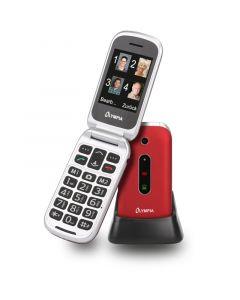 Olympia MIRA GR Κόκκινο (Ελληνικό Μενού) Κινητό τηλέφωνο για ηλικιωμένους με κουμπί SOS, Bluetooth και κάμερα με φλας 110687-0020