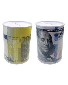Κουμπαράς μεταλλικός με παραστάσεις ευρώ- δολάριο [30501108] - AGC