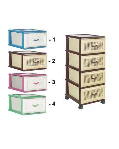 Πλαστική συρταριέρα μονοχρωμη 37 x 46 x 87 εκ. με 4 συρτάρια [70609036] - Comfort Time