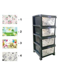 Πλαστική συρταριέρα χρωματιστή 37 x 46 x 87 εκ. με 4 συρτάρια [70609038] - Comfort Time