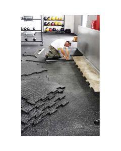 Λαστιχένιο πάτωμα, πλακάκι, λείο, 100x50cm, πάχους 20mm, μαύρο - 94453