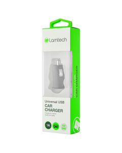 LAMTECH SINGLE USB CAR CHARGER 1A BLACK LAM439973