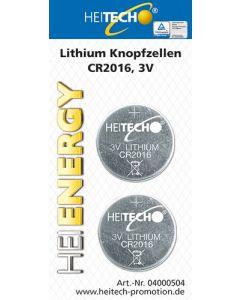 HEITECH LITHIUM BATTERY 2/PACK CR2016 75 mAh 3V HEI000504
