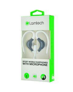 LAMTECH SPORT MOBILE EARPHONES WITH MIC WHITE LAM020229