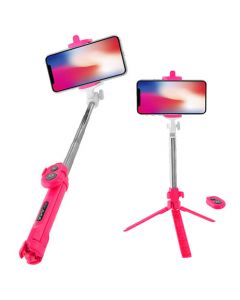 <p> LAMTECH TRIPOD SELFIE STICK ROSE RED</p> LAM020373