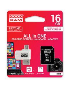 GOODRAM 4-IN-1 MICROSD 16GB+CARD READER+OTG+ADAPTER CL10 M1A4 M1A4-0160R12