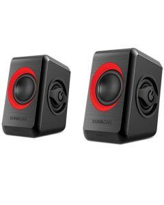 SONIC GEARS USB POWERED QUAD BASS SPEAKERS 2,0 BLACK FESTIVE RED QUATRO2BFR