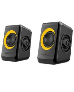 SONIC GEARS USB POWERED QUAD BASS SPEAKERS 2,0 BLACK SUNNY ORANGE QUATRO2BSO