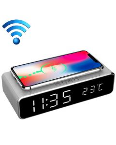 GEMBIRD DIGITAL ALARM CLOCK WITH WIRELESS CHARGING FUNCTION SILVER DAC-WPC-01-S