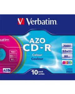 VERBATIM CD-R 10PK SLIM SUPER AZO 700MB 52X VER43308