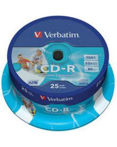 VERBATIM CD-R 25PK WIDE INKJET PRINTABLE AZO 700MB VER43439
