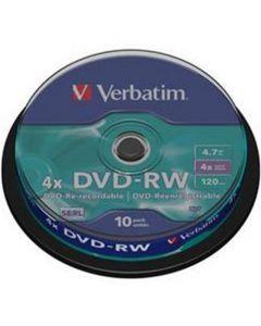 VERBATIM DVD-RW 4X 4,7GB 10 PACK SPIND VER43552
