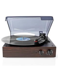 NEDIS TURN220BN Turntable 18 W PC Conversion Automatic Turn Off Dust Cover Brown 233-1121