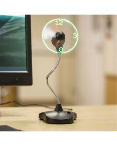 Ανεμιστήρας-Ρολόι με βάση και USB Καλώδιο LED Clock Fan w/Stand TS0263