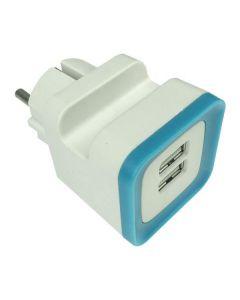ΑΝΤΑΠΤΟΡΑΣ ΑΠΟ ΣΟΥΚΟ ΣΕ 2 USB 5V DC 2,4A ΜΠΛΕ 147-09000