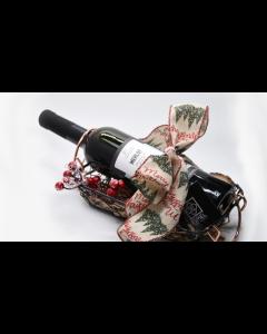 Γιορτινό Καλάθι ESPIEL 4 με Φιάλη Κρασιού «Merlot 2018 Tσιρόπουλος» Βιολογικής Γεωργίας. Διαστάσεις 35x13x12cm