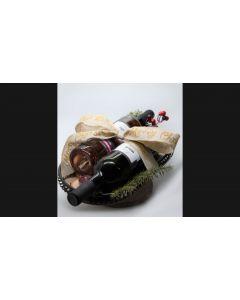 Γιορτινό Πλατώ Σερβιρίσματος ESPIEL 2 με Δύο Φιάλες Κρασιού, «Merlot 2018» Βιολογικής Γεωργίας και «Ροζέ Syrah 2019», από το Οινοποιείο «Τσιρόπουλος», Διαστάσεις 40x20x17cm