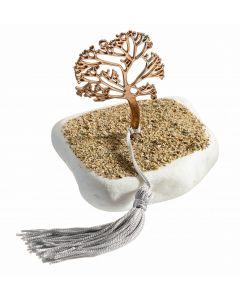 Επιτραπέζιο διακοσμητικό με μεταλλικό επιχρυσωμένο το δέντρο της Ζωής(rose gold) σε μάρμαρο Θάσου με επικάλυψη άμμου Τ1909r