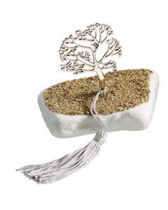 Επιτραπέζιο διακοσμητικό με μεταλλικο νίκελ το δέντρο της Ζωής σε μάρμαρο Θάσου με επικάλυψη άμμου T1909s