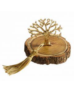 Επιτραπέζιο διακοσμητικό με μεταλλικο επιχρυσωμένο το δέντρο με τις Ευχές σε κορμό Δρυ - περίπου 100 gr T1963 - 9x9x8